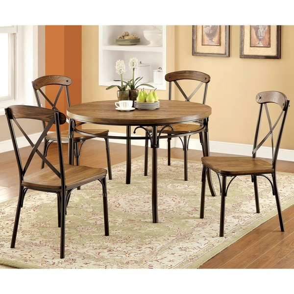 Furniture Of America Merrits Industrial Style Round Dining
