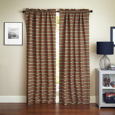 Blazing Needles 'Cadillac' Patterned Jacquard Chenille Curtain Panels (Set of 2)