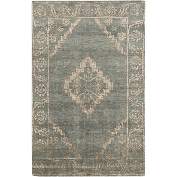 Hand Knotted Penelope Border Viscose Area Rug 2 X27 X