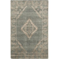 Hand-Knotted Penelope Border Viscose Area Rug - 2' x 3'