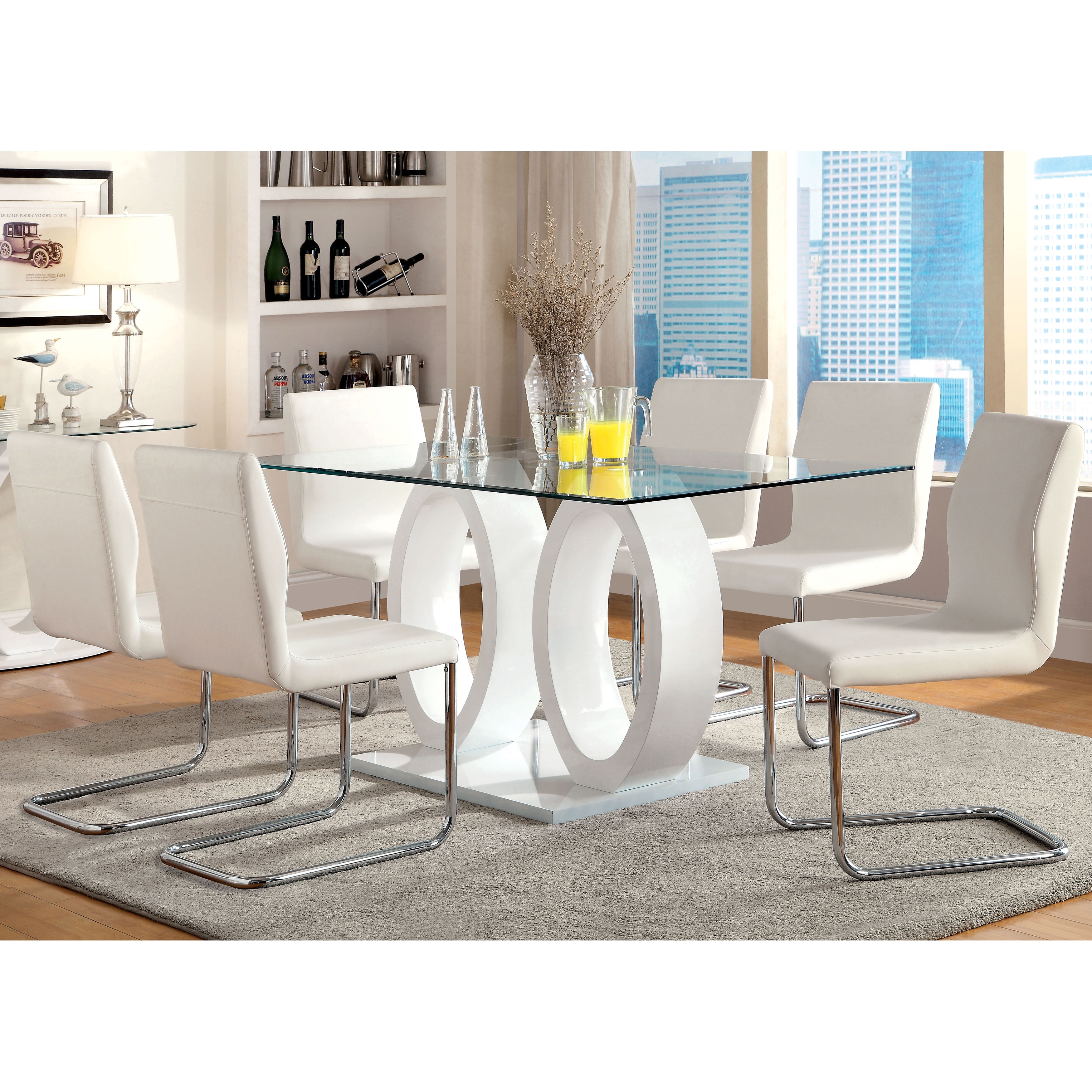 Furniture of America Olgette Contemporary High Gloss Dini...