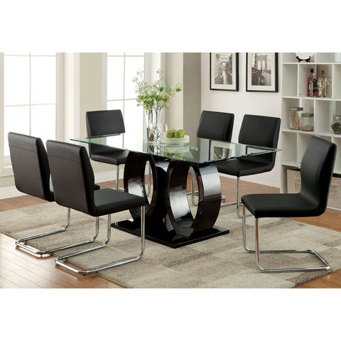 Furniture of America Raji Contemporary Black 63-inch Wood Dining Table