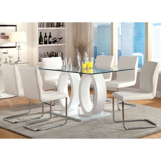 Furniture of America  Raji Contemporary Black 63-inch Wood Dining Table (White)
