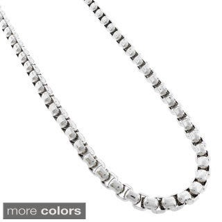 Stainless Steel Men's 6mm Round Box Chain Necklace (24-inch)