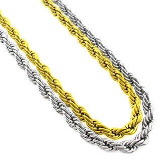 Stainless Steel Men'S 6Mm Rope Chain Necklace (24-Inch)