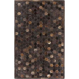 Hand-Crafted Cesar Geometric Hair On Hide Rug (2' x 3')