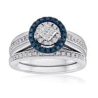 Platinaire 3/8ct TDW Blue and White Diamond Bridal Set
