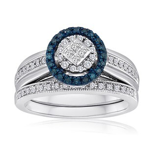 Platinaire 3/8ct TDW Blue and White Diamond Bridal Set