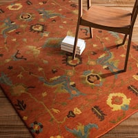 Hand-Knotted Abbigail Border Indoor Area Rug - 5' x 8'