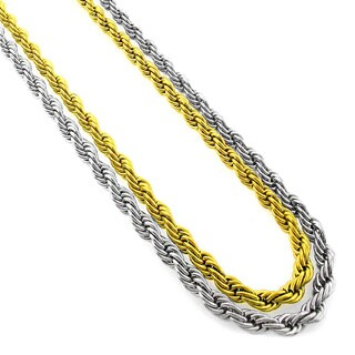 Stainless Steel Men'S Women'S 5Mm Rope Chain Necklace (24-Inch)