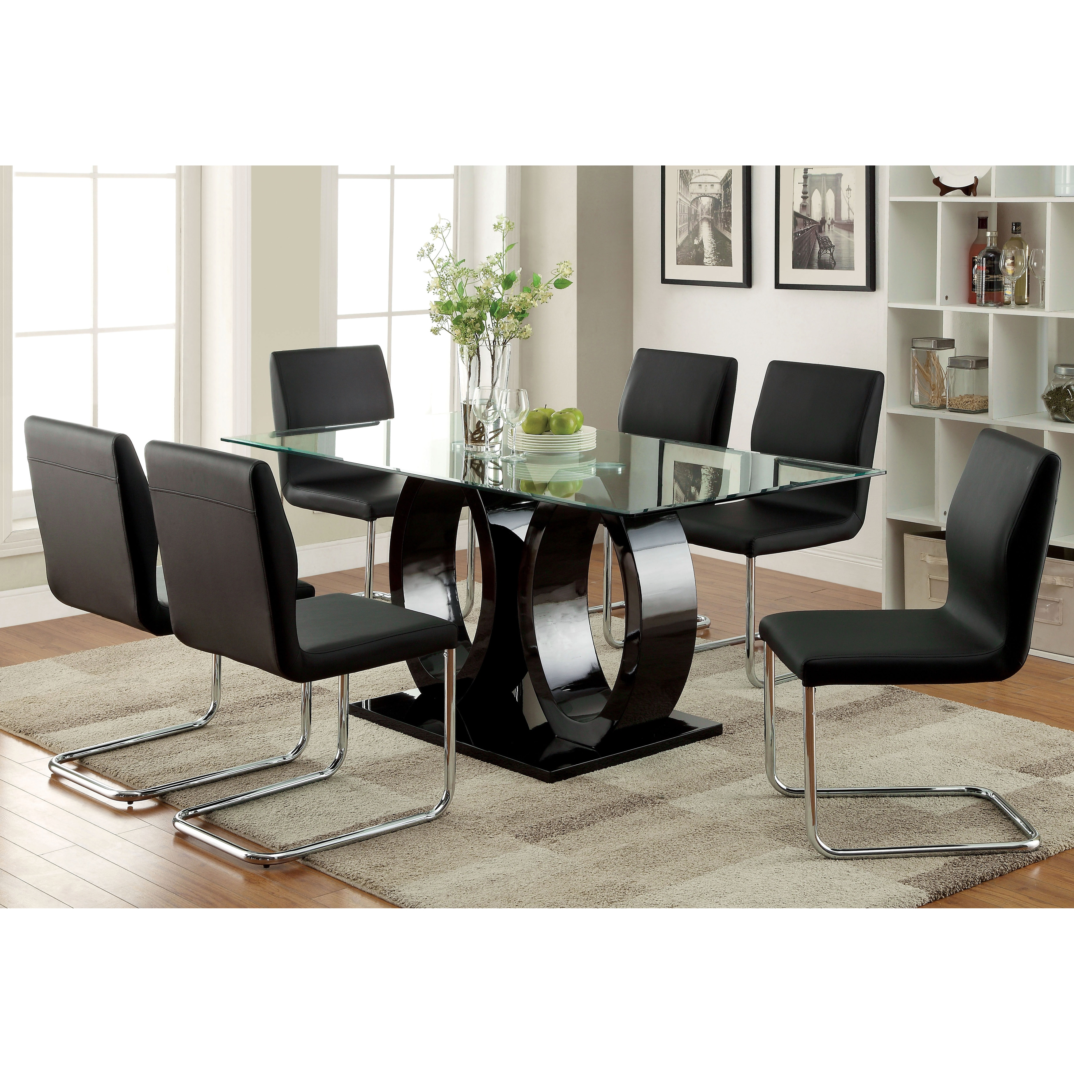 Advertisement. Furniture of America Olgette Contemporary 7 piece High Gloss
