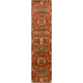 """Hand-Knotted Abbigail Border Indoor Area Rug - 2'6"""" x 10' Runner"""