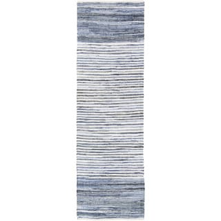 "Hand-loomed Stripe Cotton Area Rug - 2'6"" x 8' Runner"