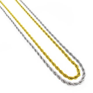 Stainless Steel Men's Women's 4mm Rope Chain Necklace (24-inch)