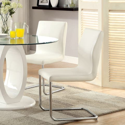 Furniture of America Raji Contemporary Chrome Dining Chairs (Set of 2)