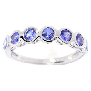 Sterling Silver 3mm Round Tanzanite 7-stone Ring