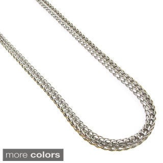 Stainless Steel Men'S Women'S 4Mm Franco Fox-Tail Chain Necklace (24-Inch)