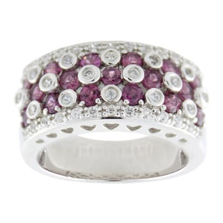 Sterling Silver 1 7/8ct TGW Rhdolite and White Zircon Wide Band