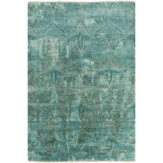 Hand-Knotted Alivia Paisley New Zealand Wool Area Rug - 2' x 3'