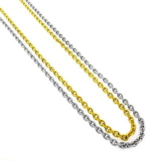 Stainless Steel Men's Women's 4mm Cable Link Chain Necklace (24-inch)