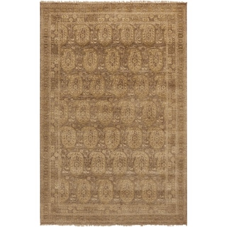 """Hand-Knotted Arlene Border New Zealand Wool Area Rug - 5'6"""" x 8'6"""""""