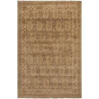 "Hand-Knotted Arlene Border New Zealand Wool Area Rug - 5'6"" x 8'6"""