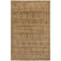 Hand-Knotted Arlene Border New Zealand Wool Area Rug - 5'6 x 8'6'