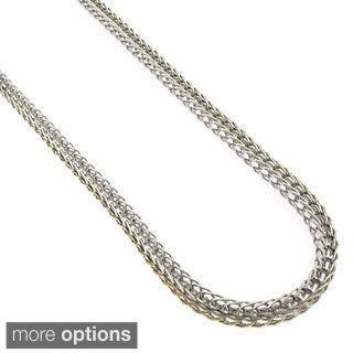 Stainless Steel 3Mm Franco Fox-Tail Chain Necklace (24-Inch)
