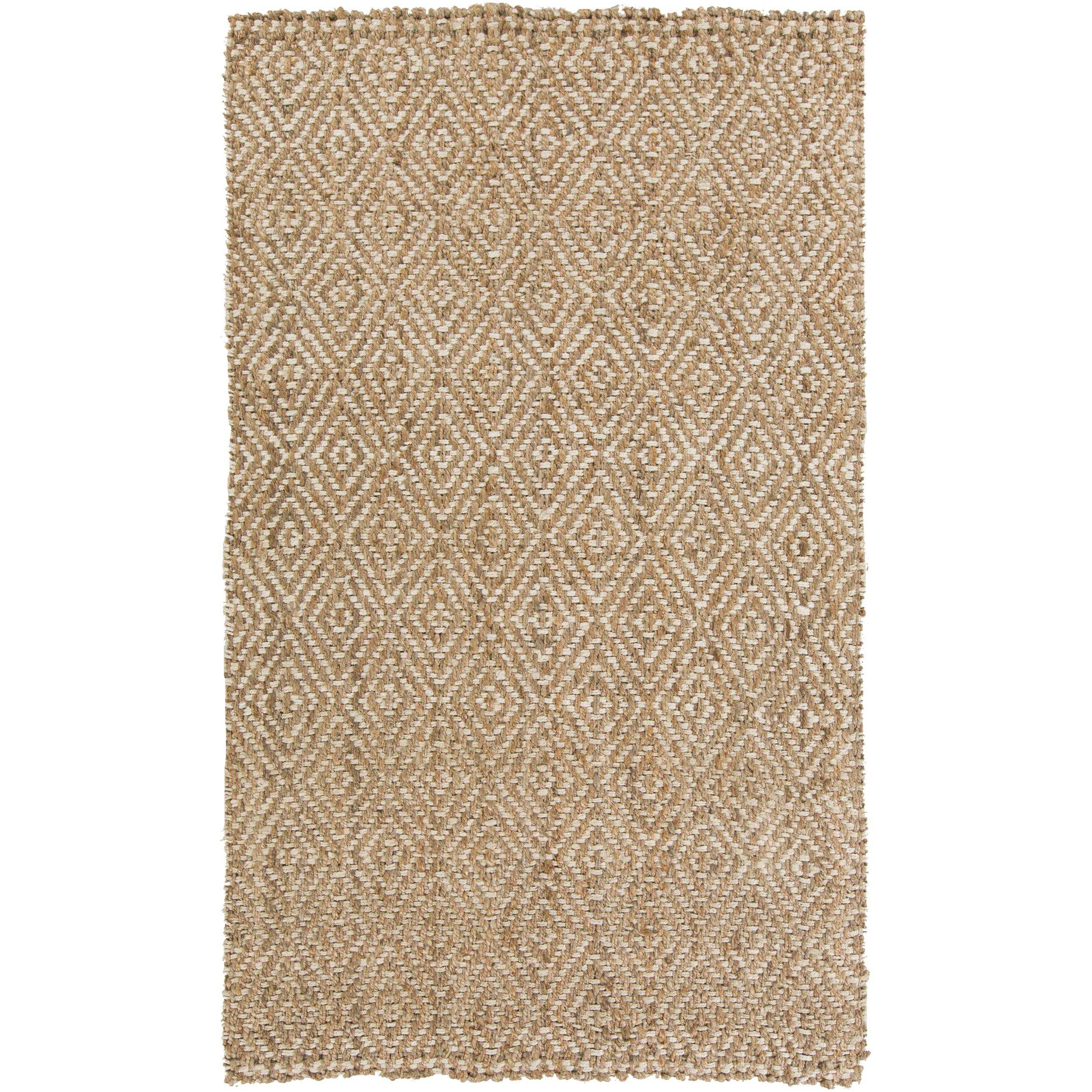Hand-Woven Ahmad Geometric Jute Rug (8' x 11') (Beige-(8'...