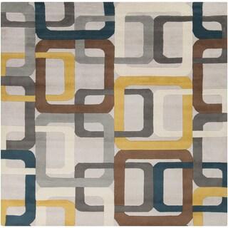 Hand-Tufted Bradshaw Geometric Wool Rug (6' Square)