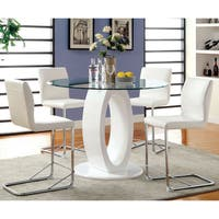 Furniture of America Olgette Contemporary 5-Piece High Gloss Counter Height Round Dining Set