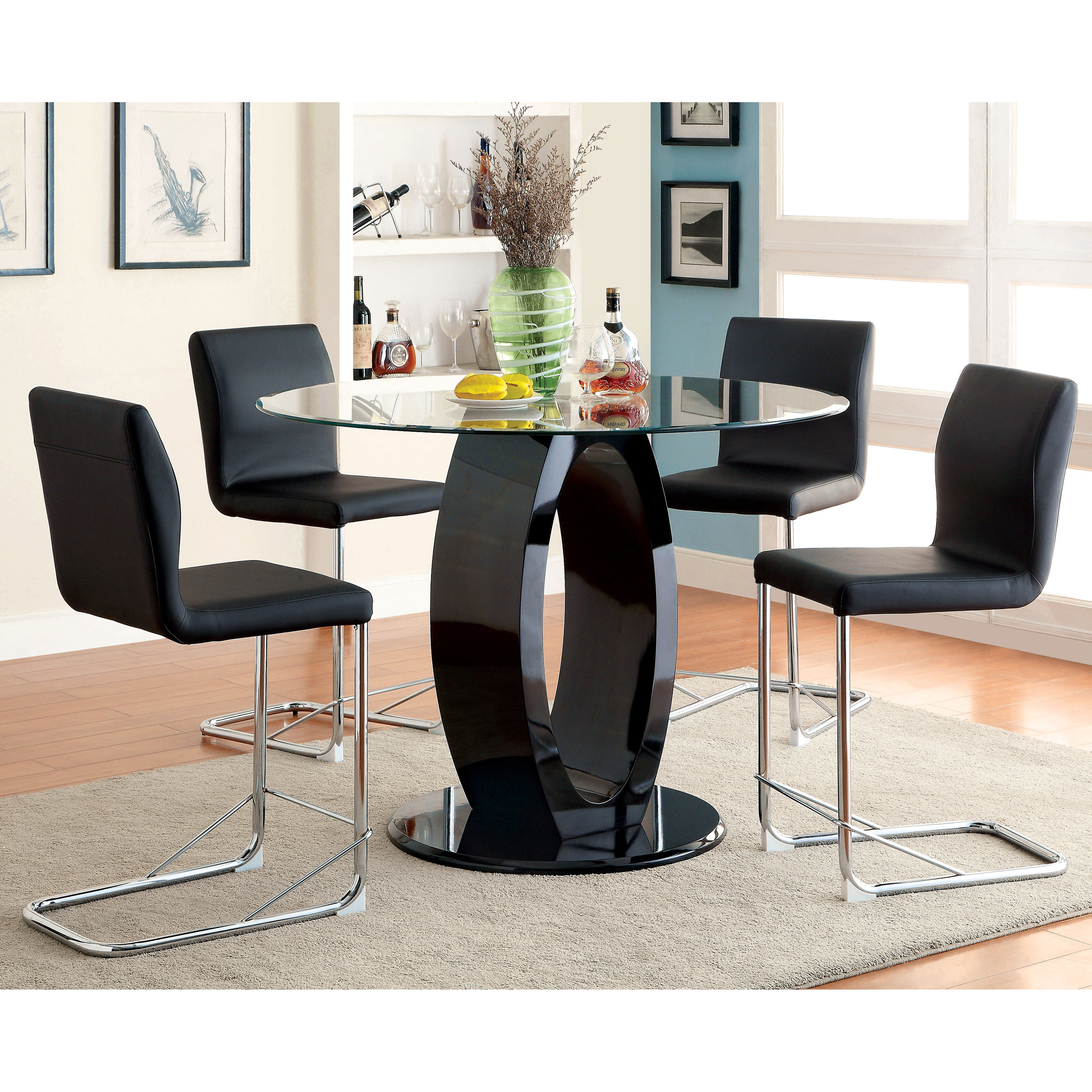 Furniture of America Olgette Contemporary High Gloss Roun...