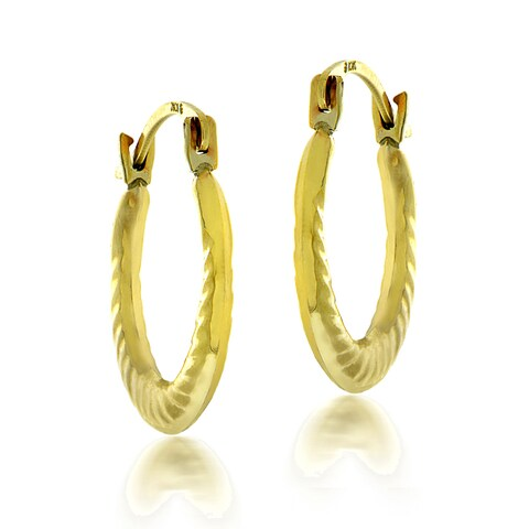 Mondevio 10k White or Yellow Gold Twist Hoop Earrings