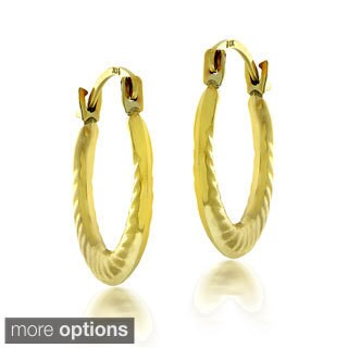 Mondevio 10k White or Yellow Gold Twist Hoop Earrings