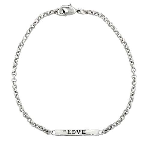 Mondevio 'Love' Bar Rolo Bracelet