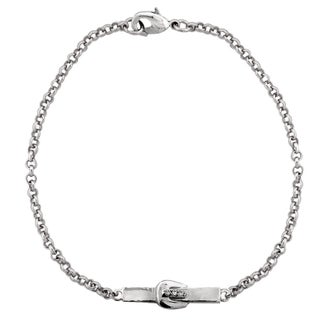 ICZ Stonez Buckle Bar Chain Bracelet (Option: Silvertone)