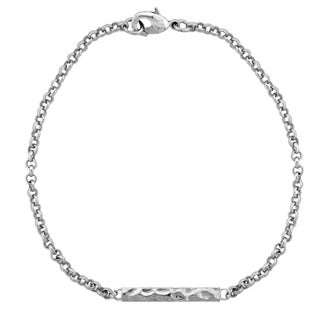 Mondevio Hammered Bar Rolo Bracelet (Option: Silvertone)