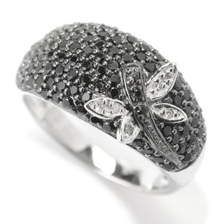 Sterling Silver Black Spinel and White Zircon Dragonfly Ring
