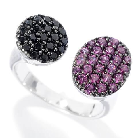 Sterling Silver Rhodolite Black Spinel Bypass Ring - White