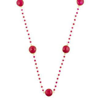 Alchemy Jewelry 22k Goldplated Ruby Gemstone Necklace
