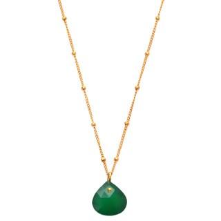 Alchemy Jewelry 18k Gold Overlay Green Onyx Necklace
