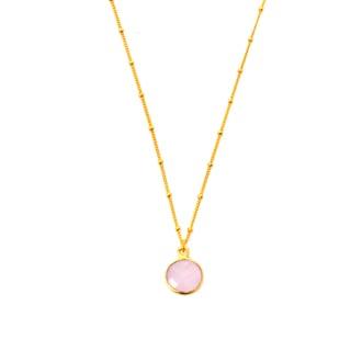 Alchemy Jewelry 22k Gold Overlay Pink Chalcedony Necklace