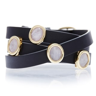 Alchemy Jewelry 18k Goldplated Rose Quartz Black Leather Wrap Bracelet