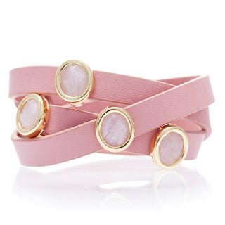 Alchemy Jewelry 18k Gold Overlay Rose Quartz Pink Leather Wrap Bracelet