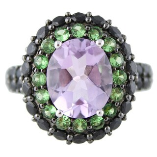Sterling Silver 6 4/5ct TGW Multi-gemstone Double Halo Ring