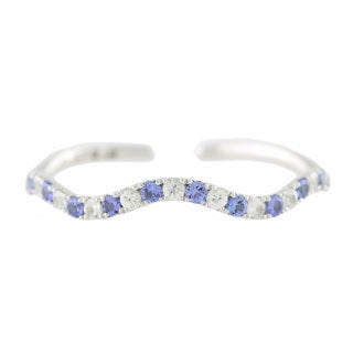 Sterling Silver 8 1/3ct TGW Tanzanite and White Zircon Bracelet