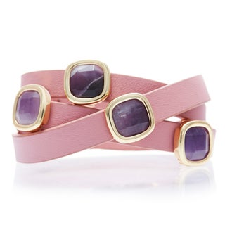 Alchemy Jewelry 18k Goldplated Amethyst Pink Leather Wrap Bracelet