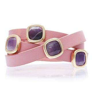 Alchemy Jewelry Goldplated Amethyst Pink Leather Wrap Bracelet