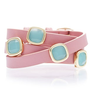 Alchemy Jewelry Goldplated Peru Chalcedony Pink Leather Wrap Bracelet