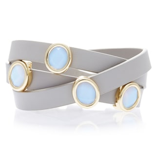 Alchemy Jewelry 18k Gold-plated White Chalcedony Taupe Leather Wrap Bracelet